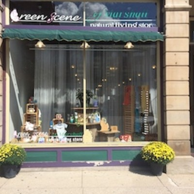 The Green Scene Natural Living Store Marshall Michigan store front fall